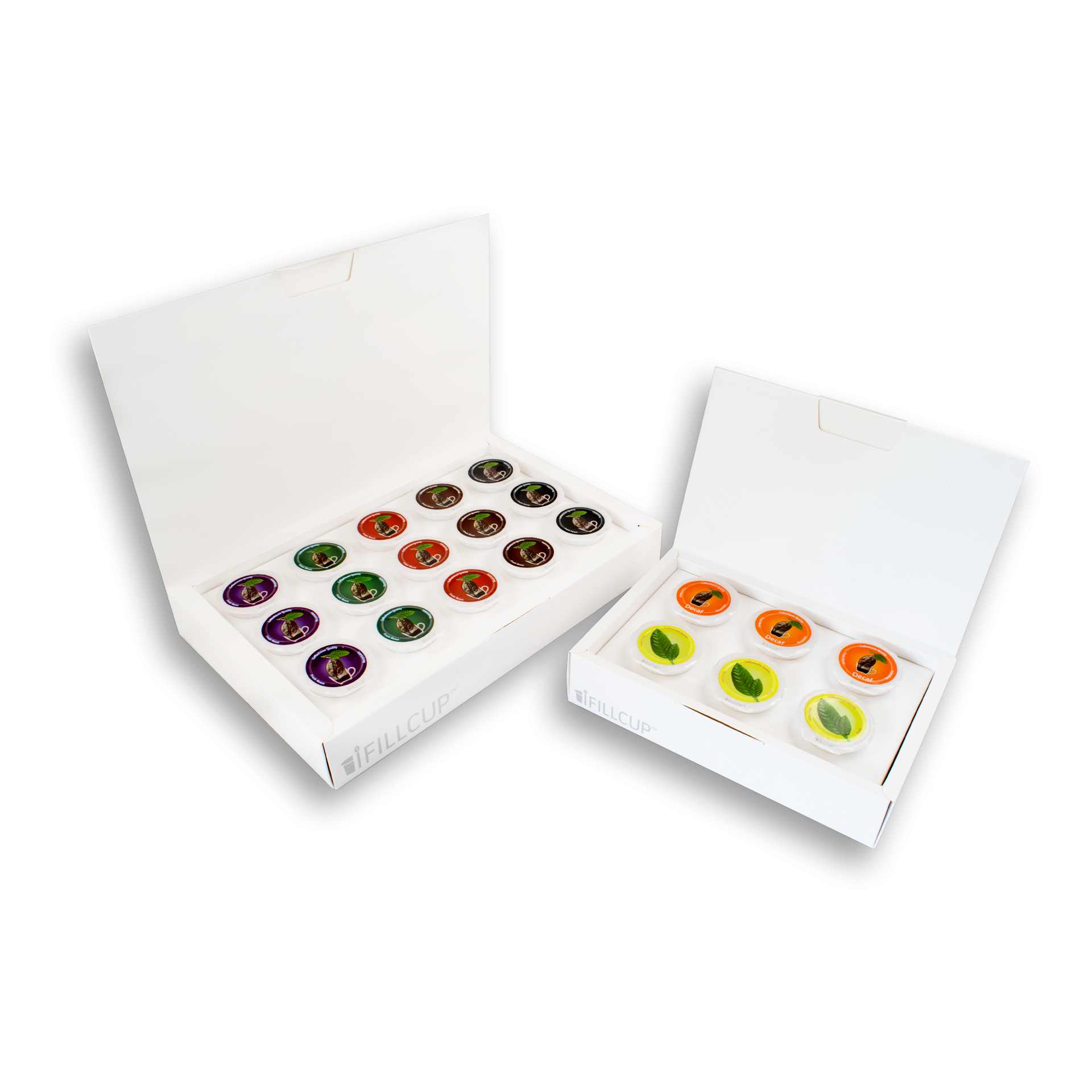iFillCup Presentation Boxes, Large and Small with Color Lids