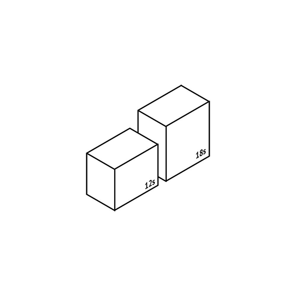 iFillCup Packaging Drawing, Stacked, 12 count and 18 count