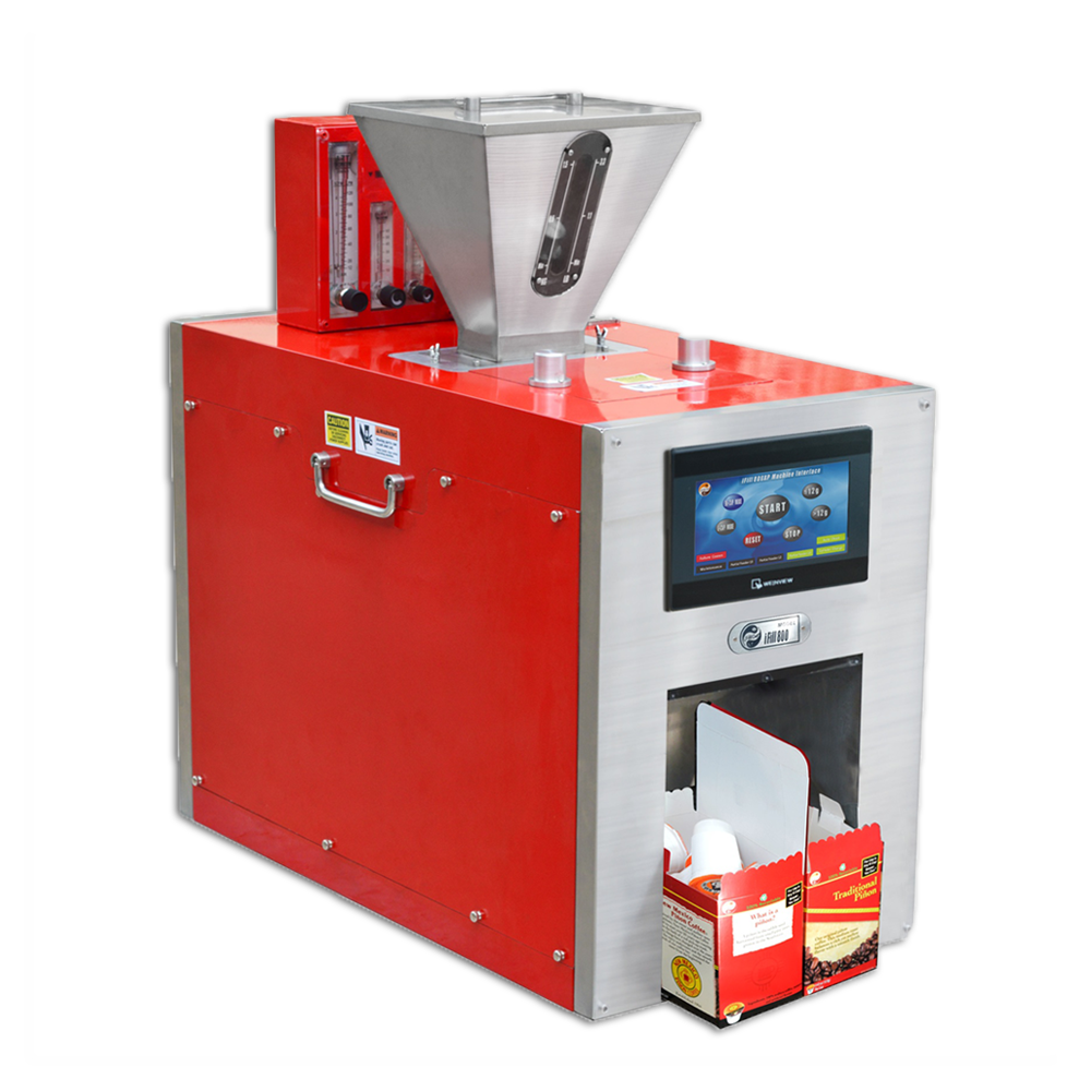 iFill800 Automatic Filling Machine, Red Finish with Boxes
