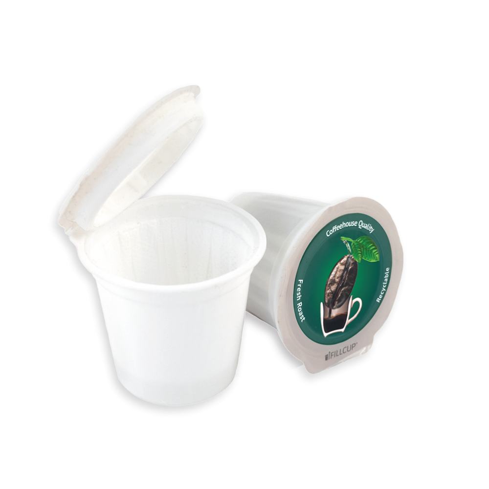 Fillable K Cup Single Serve Recyclable Coffee Pod, Green Lid