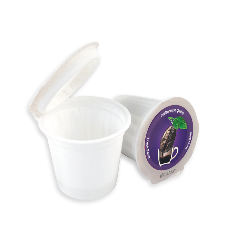 Fillable K Cup Single Serve Recyclable Coffee Pod, Purple Lid