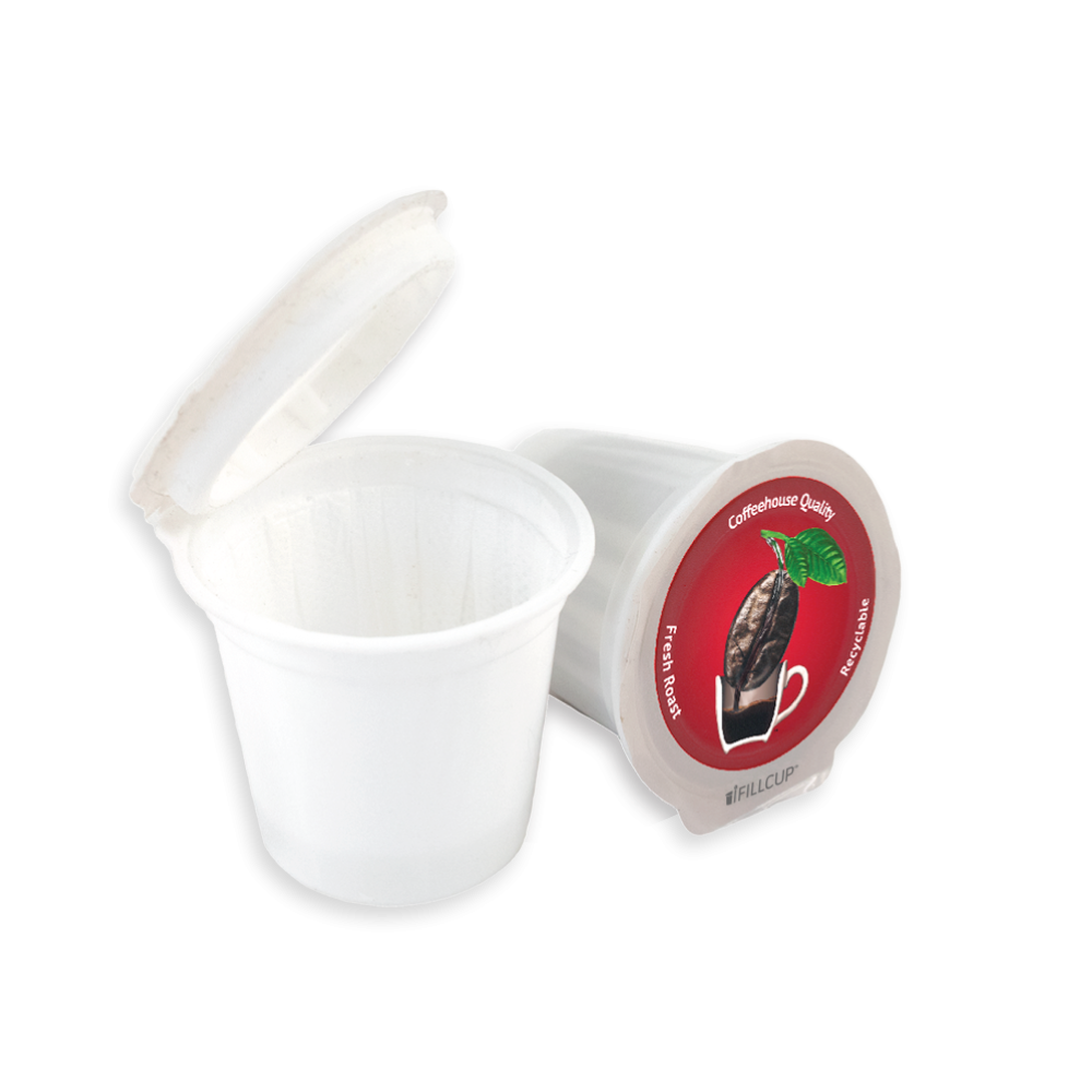 Fillable K Cup Single Serve Recyclable Coffee Pod, Red Lid